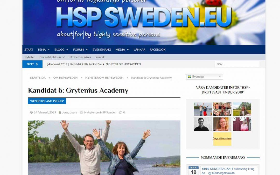 Vi är hedrade över att vara nominerade till HSP-driftigast under 2018