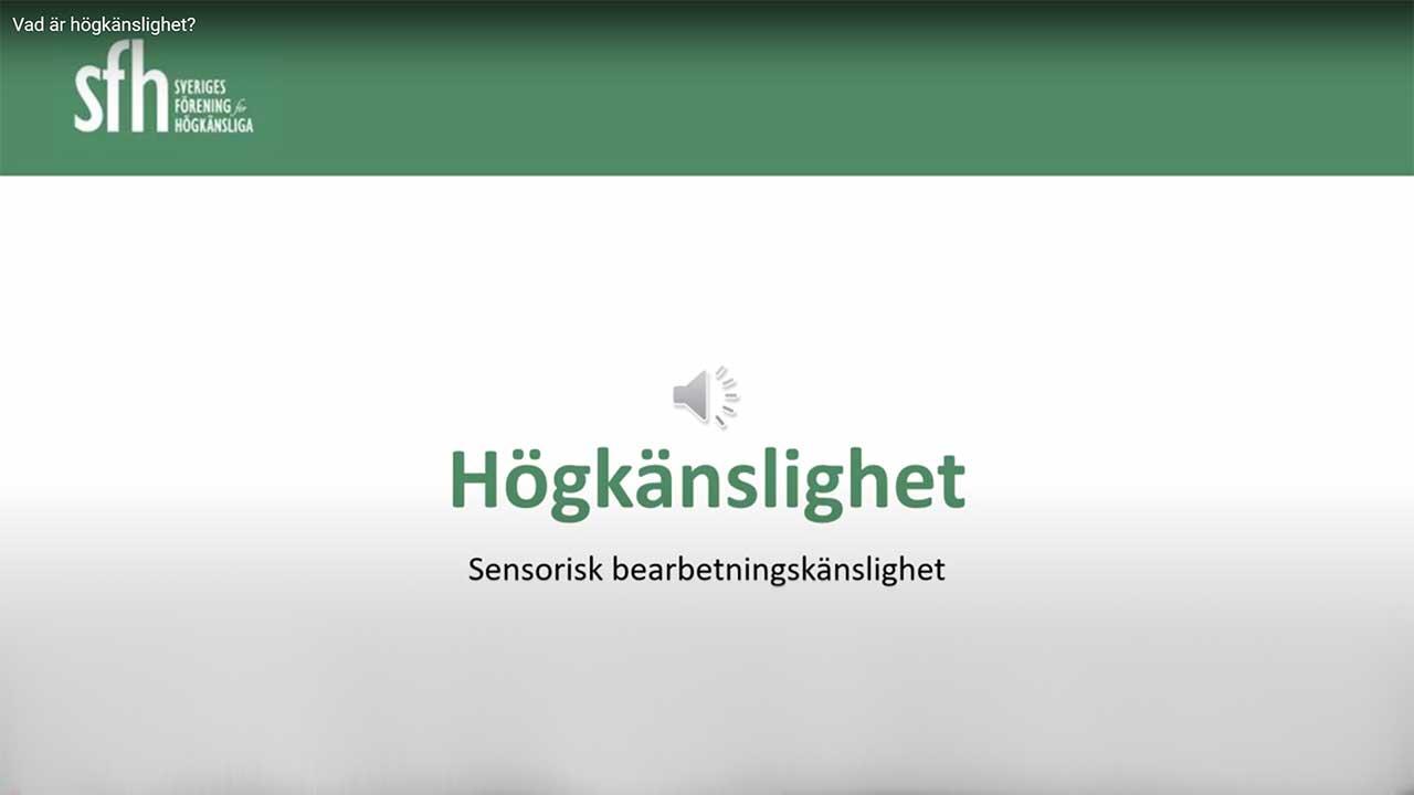 Inspelad föreläsning om högkänslighet - Sensorisk bearbetningskänslighet